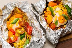 Chicken, Tomatoes, and Corn Foil PacksDelish