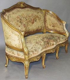French 19th Century Louis XV Style Gildwood Carved Aubusson Sofa (part of a Five Piece Salon Suite), By FOREST, a Paris. Circa: 1880.