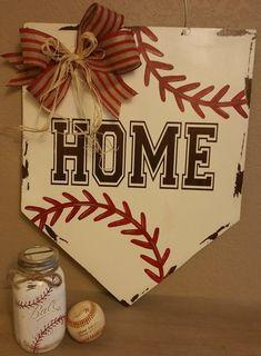 Baseball home base door hanger. Springtime and summer door hanger.