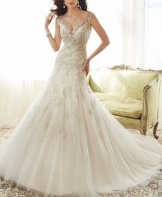 White/Ivory Beaded Appliqued Chapel Train Wedding Dress Bridal Gown Custom Size