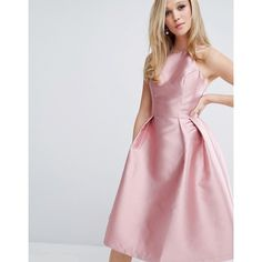 Chi Chi London Structured Satin Prom Dress ($94) ❤ liked on Polyvore featuring dresses, pink, pink satin dress, pleated dress, prom dresses, pink prom dresses and halter cocktail dress