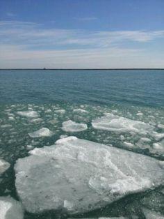 Melting but still icy Lake Michigan #Chicago