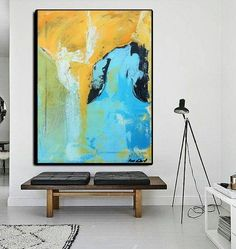 Acrylic Painting Art Original on Canvas 160 cm X 100 cm  Green & Yellow Colors Hand Made Original Drawing painting buy art for office
