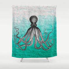 Antique Nautical Steampunk Octopus Vintage Kraken sea monster ombre turquoise blue pastel watercolor Shower Curtain by iGalaxy