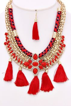 Red/Gold Bohemian Necklace