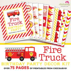NEW fire truck party printables! This page PERSONALIZED printable decor kit is stuffed full of themed designs, fun puns, and great party ideas! 2nd Birthday Parties, Birthday Party Decorations, Boy Birthday, Birthday Ideas, Birthday Thank You Cards, Party Kit, Party Ideas, Good Day Song, Fire Trucks
