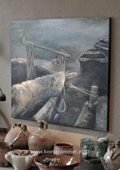 schilderij van boten