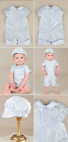 Just a touch of color and a handsome cut, the Noah romper. https://www.onesmallchild.com/noah-blue-christening-outfit.html