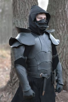 Leather Dark elf set: bracers, shoulders, mask, armor chest, black leather  for Larp and fantasy enthusiasts