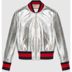 Gucci Crackle Leather Bomber Jacket (£1,900) ❤ liked on Polyvore featuring outerwear, jackets, silver, womens ready to wear, zipper leather jacket, white leather jacket, zipper jacket, leather zip jacket and genuine leather jacket