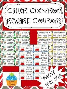 Reward Coupons: Glitter Chevron Different Coupons) Classroom Incentives, Classroom Economy, Classroom Management Strategies, Behaviour Management, Behaviour Chart, Classroom Themes, Future Classroom, Pbis School, School Days