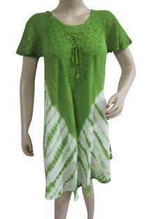 Tie Dye Dress, Boho Tunic Cover Up, Green Bust Sleeves Embroidered Beach Resortwear Caftan Mogul Interior,http://www.amazon.com/dp/B00CLOE0PE/ref=cm_sw_r_pi_dp_R2XGrb48D1604985
