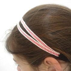 Rentrée des classes - headband / bandeau double blanc à petits carrés rouge…
