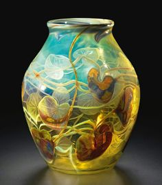 Tiffany Studios, Cameo Lily Pad Vase, c 1900-1903, sold on Sotheby's for $47,500