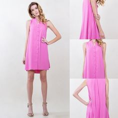 Cotton Candy Dress Pink sleeveless button down dress. High low hem. Pleated detail on back. 100% polyester. Available in XS S M and L. Please contact me for your own listing I would love to make you one! Lewboutiquetwo Dresses