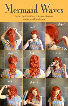 Neat little hair tutorial for cool vintage style mermaid waves Vintage Hairstyles, Diy Hairstyles, Pretty Hairstyles, Mermaid Hairstyles, Pin Up Hair, Love Hair, Mermaid Waves, Mermaid Style, Peinados Pin Up