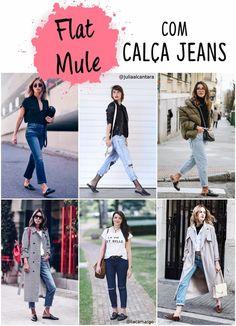 Flat mule com calça jeans
