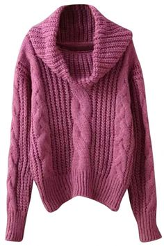 Chic Turtleneck Cable Knit Sweater OASAP.com