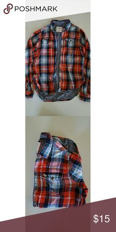 Abercrombie and Fitch Flannel Red, white, blue and a hint of green checkered flannel. Has two linings so it is warm. Abercrombie & Fitch Tops Button Down Shirts