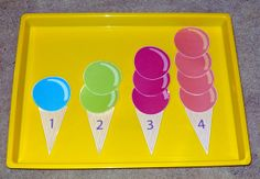 Ice Cream Scoop Counting Activity Preschool Children place the correct number of scoops with the corresponding numbered cone.