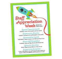 Invitation for Space Themed Staff Appreciation Week