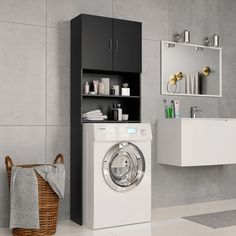 vidaXL Washing Machine Cabinet Black Chipboard Bathroom Storage Rack Utility - 8719883671895 For Sale, Buy from Laundry Cabinets collection at MyDeal for best discounts. Bathroom Cupboards, Oak Bathroom, Laundry Cabinets, Bathroom Furniture, Bathroom Storage, Bathroom Black, Laundry Cupboard, Bathroom Laundry, Utility Room Storage