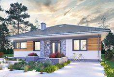 Projekt domu Kwadra - murowana – ceramika 103,3 m2 - koszt budowy 212 tys. zł - EXTRADOM House Layout Plans, House Layouts, House Design Pictures, Three Bedroom House Plan, Modern Bungalow House, Home Fashion, Gazebo, 1, Exterior