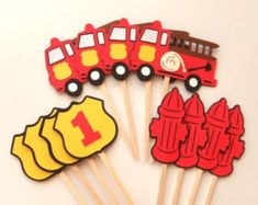 Fire Truck Party Cupcake Toppers Firetruck Birthday Fire Hydrant Fireman's shield with Number by FeistyFarmersWife Fireman Party, Firefighter Birthday, Fireman Sam, Birthday Centerpieces, Birthday Decorations, Birthday Party Places, Birthday Parties, 3rd Birthday, Fire Truck Cupcakes