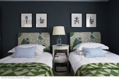 Bedroom Headboards in Christopher Farr Carnival in Green. Pillows in Quadrille China Seas Java Java in Blue. Bedroom Green, Bedroom Decor, Bedroom Ideas, Wall Decor, Headboards For Beds, Upholstered Headboards, Guest Bedrooms, Guest Room, Blue Bedrooms