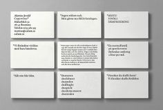 Business cards with an Indigo type-only design solution for Swedish copywriter Mattias Jersild created by BVD