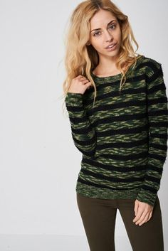 Army Stripe Mohair And Knit Jumper Ex-Branded http://ladiesfashionnow.com/products/varaja-a2