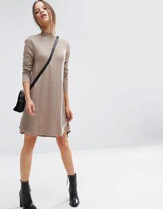 Image 4 ofASOS PETITE Knit Tunic Dress in Cashmere Mix