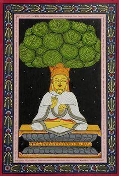 Lord Buddha - Buddhist Paintings (Orissa Pattachitra Painting on Canvas - Unframed)