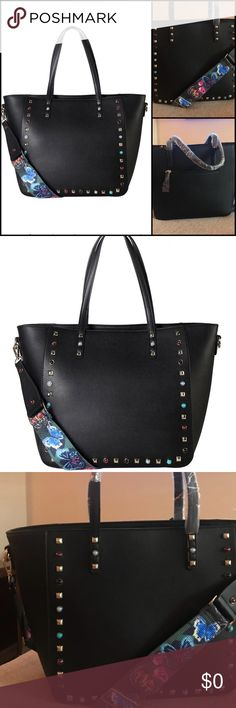 """Studded Fashion Tote *Brand New *1 Main Compartment with 1 Zippered Pocket and 2 Open Pockets Inside. 1 Zippered Pocket Outside in the Back.  *Approximate Size info: Length 12.2"""" x Width 5"""" x Height 11.4"""" Material: PU Faux Leather. Top Zipper Closure.  * Bags Totes"""