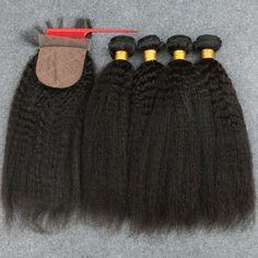 7A Brazilian Virgin Hair Kinky Straight 3Bundles With Silk CLosure Human Hair Brazillian Yaki Brazilian Virgin Hair Coarse Yaki
