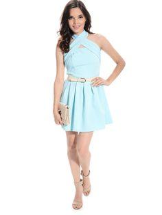 Mint Blue Crisscross Cutout Dress | $14.99 | Cheap Trendy Club and Party Dresses Chic Discount Fashi