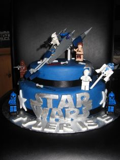 Lego Star Wars Birthday Cake - we have lots of lego figures to work with