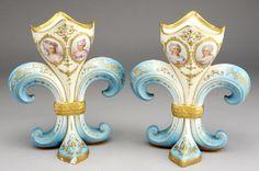 Pair of Sevres porcelain vases of Fleur-de-Lis