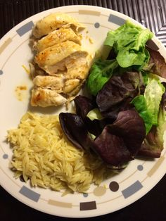 Lemon chicken with orzo and salad