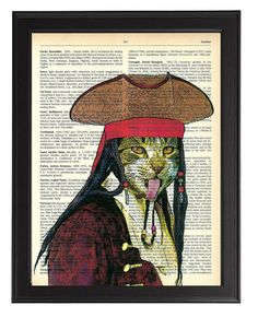Pirate Cat Art Print Upcycled Vintage by TopLondonPrints on Etsy, £6.00