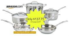 Amazon: Cuisinart Chef's Classic Stainless 10-Piece Cookware Set Cuisinart Cookware, Cookware Set, Amazon, Classic, Derby, Amazons, Riding Habit, Amazon River, Classical Music
