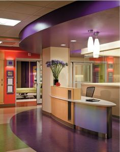Welcome desk. What impact does color and curve have on people coming to visit your company?