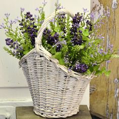 "This Small Cottage Willow Basket with a White Wash will add some farmhouse style to the living room. A bouquet of flowers or ferns will add a soft texture and country charm to any setting. 7.5""L x 5.25""W x 6.75""H #country #spring #flower #basket"
