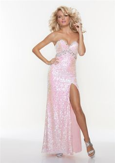 48dea55f95 Sexy sheath sweetheart long pink sequined prom dress with split