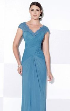 Scalloped V-Neck Gown by Cameron Blake 115608