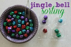 Jingle Bell Sorting – Jenae {I Can Teach My Child!} Jingle Bell Sorting Jingle Bell Sorting: Great Activity for Fine Motor Control and Cognitive Development (sorting according to similar color) Christmas Craft Projects, Christmas Activities For Kids, Preschool Christmas, Winter Activities, Christmas Ideas, Xmas, Winter Fun, Winter Theme, Winter Ideas