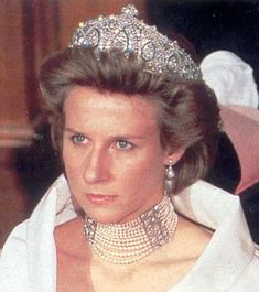 The Duchess of Gloucester, wife of the Duke of Gloucester, wearing Princess Marie Louise's Indian Tiara, United Kingdom (prob. early 1900's; made by Cartier; sapphires, pearls, diamonds).