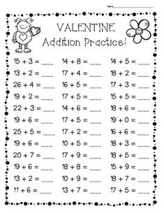 - 3 Leveled Worsheets - Math I made this pack of addition worksheets fo Addition With Regrouping Worksheets, Addition Worksheets First Grade, Math Practice Worksheets, Math Addition, Addition Facts, First Grade Homework, First Grade Math, Math Drills, Teaching Money