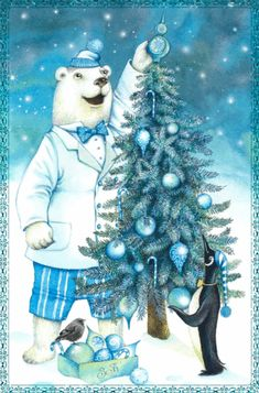 Decorating the Tree animals winter animated christmas merry christmas christmas lights christmas tree snowman christmas decorations christmas quote cute christmas christmas greeting Merry Christmas To All, Blue Christmas, Vintage Christmas Cards, Christmas Greetings, Christmas Holidays, Christmas Stuff, Christmas Lights, Xmas, Illustration Noel