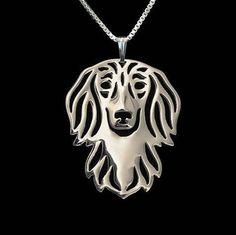 Staffordshire Terrier hanger Geometrisch zilver Plated